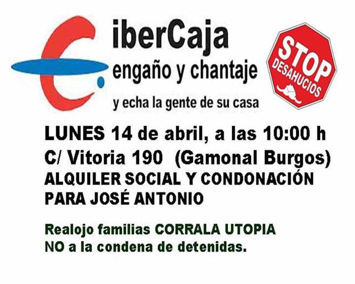 Jose antonio plataforma de afectados por la hipoteca burgos for Oficinas ibercaja burgos